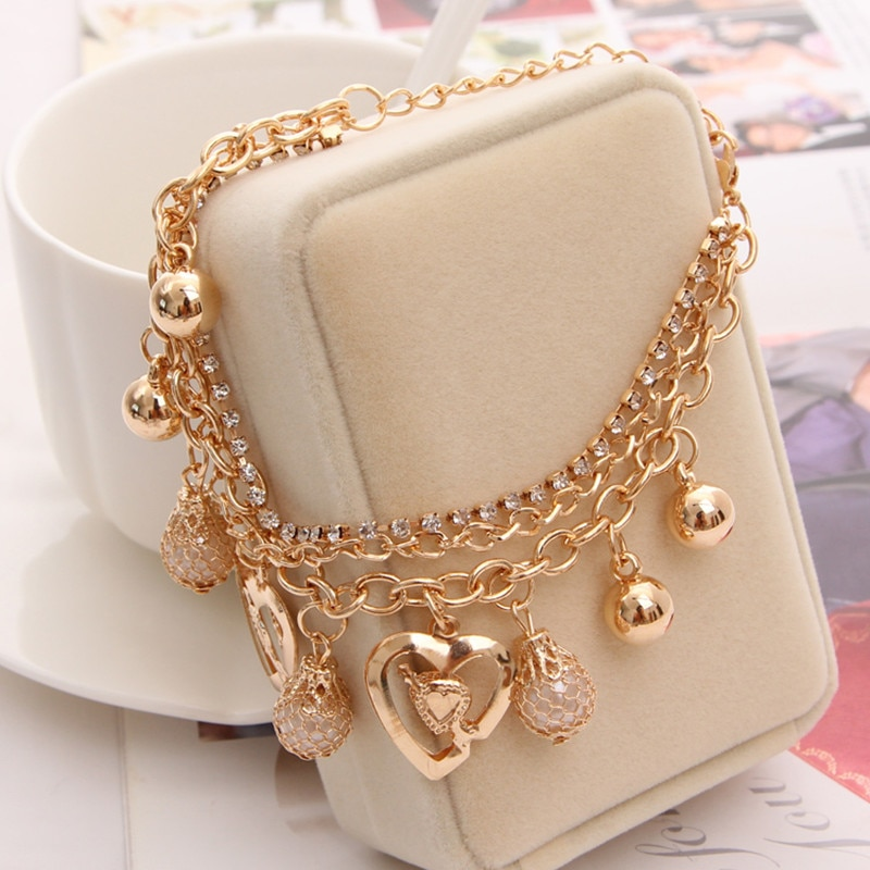 2020 New Woman Bracelets Mulitlayer Gold Color Chain Heart & Bangles Charm For Women Crystal