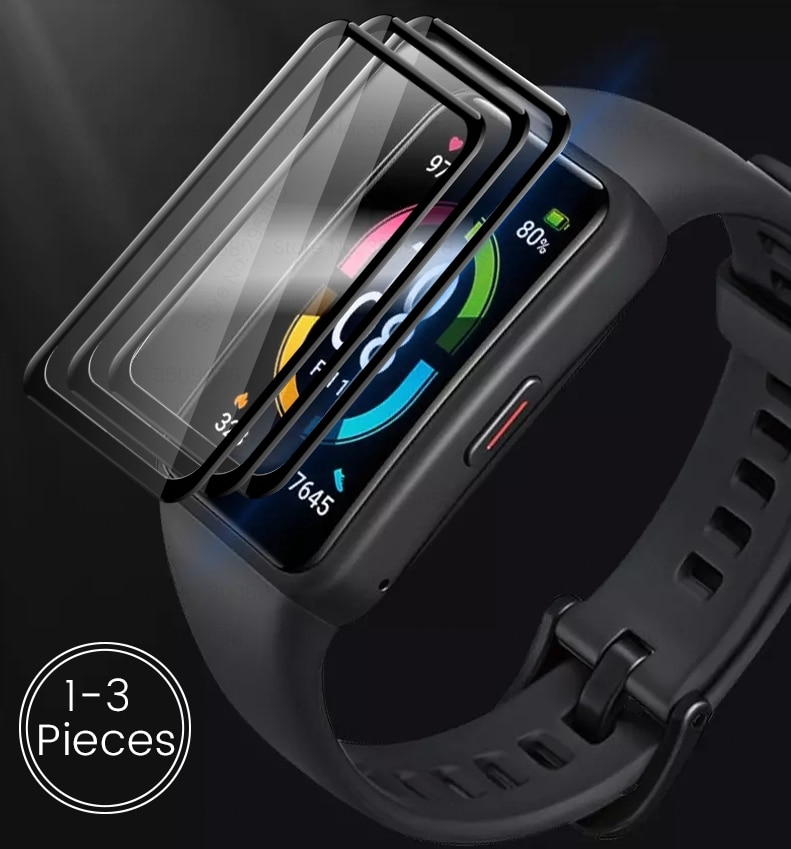 1-3Pcs 9d curved protective glass for huawei honor band 6 glass screen protectors film on honer band