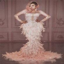 T76 chanteur rose plume longue traînée robe de soirée femmes effectuer scène danse costume imprimé stretch sirène jupe fête porte