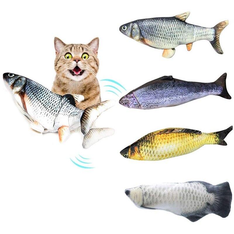 Juguete eléctrico de pez móvil de 30cm para gato cargador USB gato interactivo masticar morder juguetes de hierba gatera suministros gatito pez Flop gato juguete