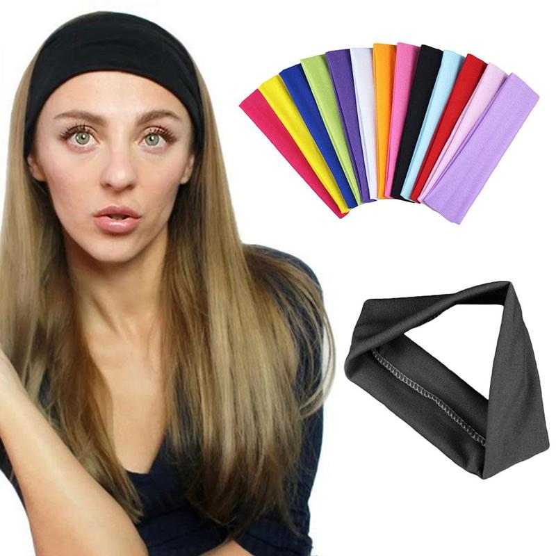 Yoga bandas para el cabello deporte elástico diademas deportes Yoga accesorio de baile de amplia venda elástico de la cinta de poliéster Hairband