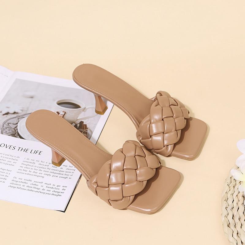 Luxury Slides Women 8cm High Heels Mules Fetish Pumps Individual Weave Leisure Blue Office Ladies Prom Slippers Women's Shoes