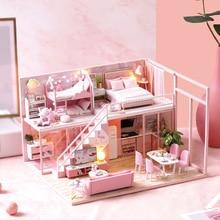 DIY Miniature Doll House Furniture 3D Wooden Dollhouse Furniture Kit Casa Music Led Light Handmade Toys For Children Gifts L-027