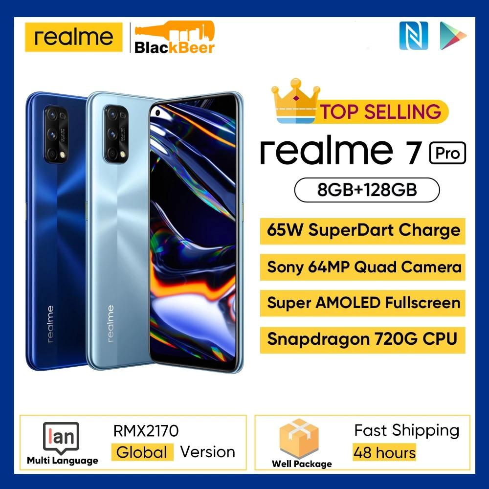 Перейти на Алиэкспресс и купить Realme 7 Pro 7pro 6,4 дюйма 4G мобильный телефон Snapgragon 720G игровой мобильный телефон 8 Гб 128 ГБ Android 10 Смартфон Sony 64MP задняя камера