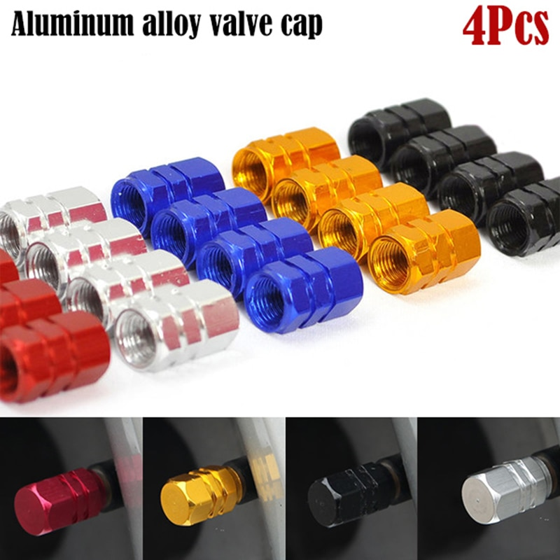 4PCS Aluminum Alloy Car Wheel Tire Valve Caps Tyre Rim Stem Covers Airdust Waterproof For Automobiles Motorcycles Trucks Bikes
