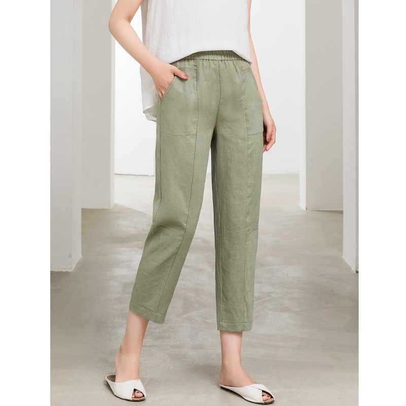 Pants women patchwork design 100% linen high waist elastic waist pockets solid 3 colors ladies bottom summer new fashion