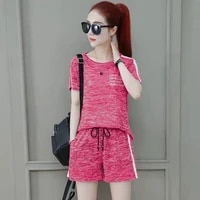 summer two piece womens short sleeved shorts 2021 new loose plus size running suit for womens casual wear