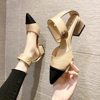 Женские босоножки на липучке, летние сандалии с острым носком, на толстом каблуке средней высоты, 2021