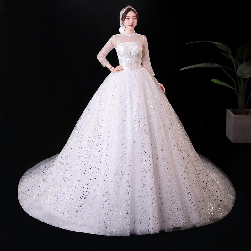 فستان زفاف بأكمام طويلة ذيل مقاس كبير فساتين زفاف للنساء زائدة فساتين الأحلام ذيل فستاين سهرة/فساتين الحفلات Vestidos De Novia