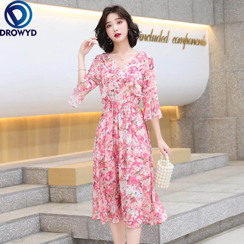 Fashion Long Chiffon Dress Women Boho Pink Floral Print Dress Midi Summer 2021 Elegant A-line Half S