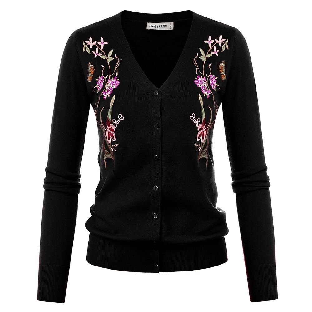 Abrigos de Mujer GK, cárdigan decorado con bordado Retro Para primavera y otoño, Jersey de punto con cuello en V, jerséis suaves florales de manga larga