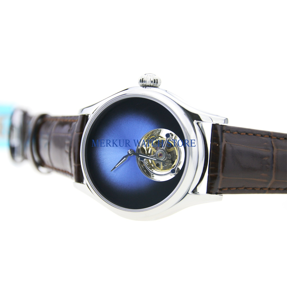 Merkur رجالي ساعة ميكانيكية هانغتشو عالية فاز توربيون حركة الهيكل العظمي فستان فاخر مطلية بالذهب الأسود الهاتفي