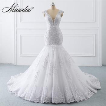 Miaoduo 2021 Mermaid Wedding Dresses Sleeveless White V Neck Lace Bridal Dress Marriage Custom Made vestidos de novia платье