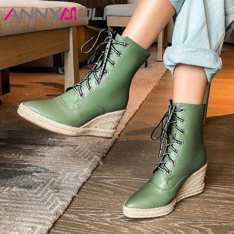 Botines de otoño ANNYMOLI, botas cortas de tacón con plataforma de cuero PU para mujer, zapatos de tacón muy alto con cremallera, talla grande de invierno 43