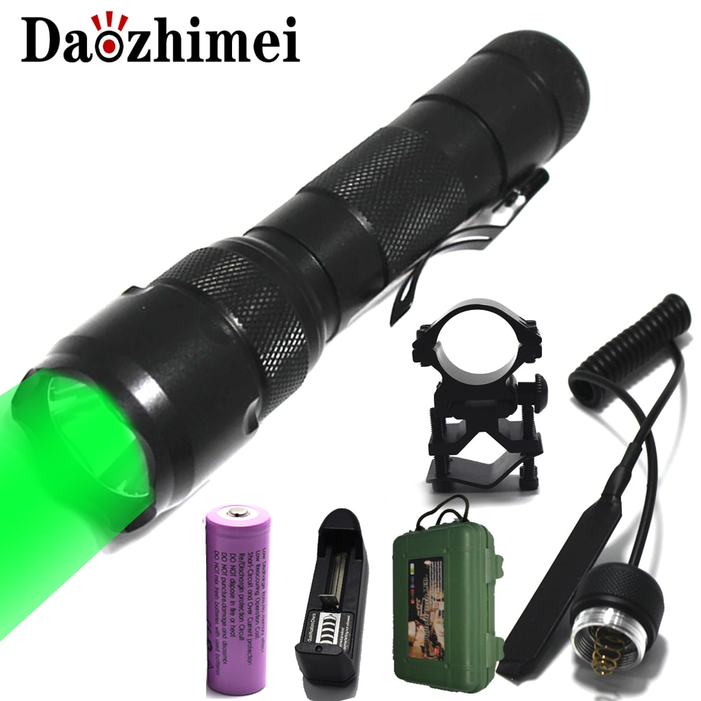 tactical torch q5 r5 led 600lm light 802 flashlight white red green blue light for outdoor camping hunting Tactical Q5 T6 White/Green/Red LED Flashlight Light Lamp Hunting Torch 18650 Pressure Switch Mount Waterproof Hunting Light Lamp