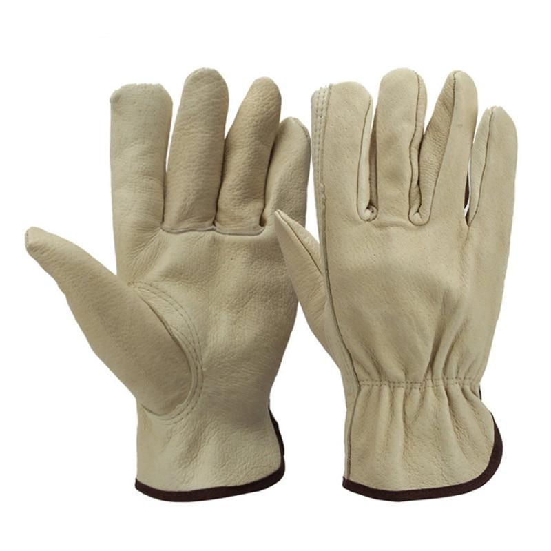 Guantes de jardín de reparación mecánica de cuero porcino duradero guantes de seguridad para el hogar
