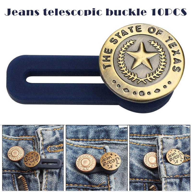 10 Uds. Botón retráctil para Vaqueros, botón extensible desmontable ajustable para ropa Jeans H9