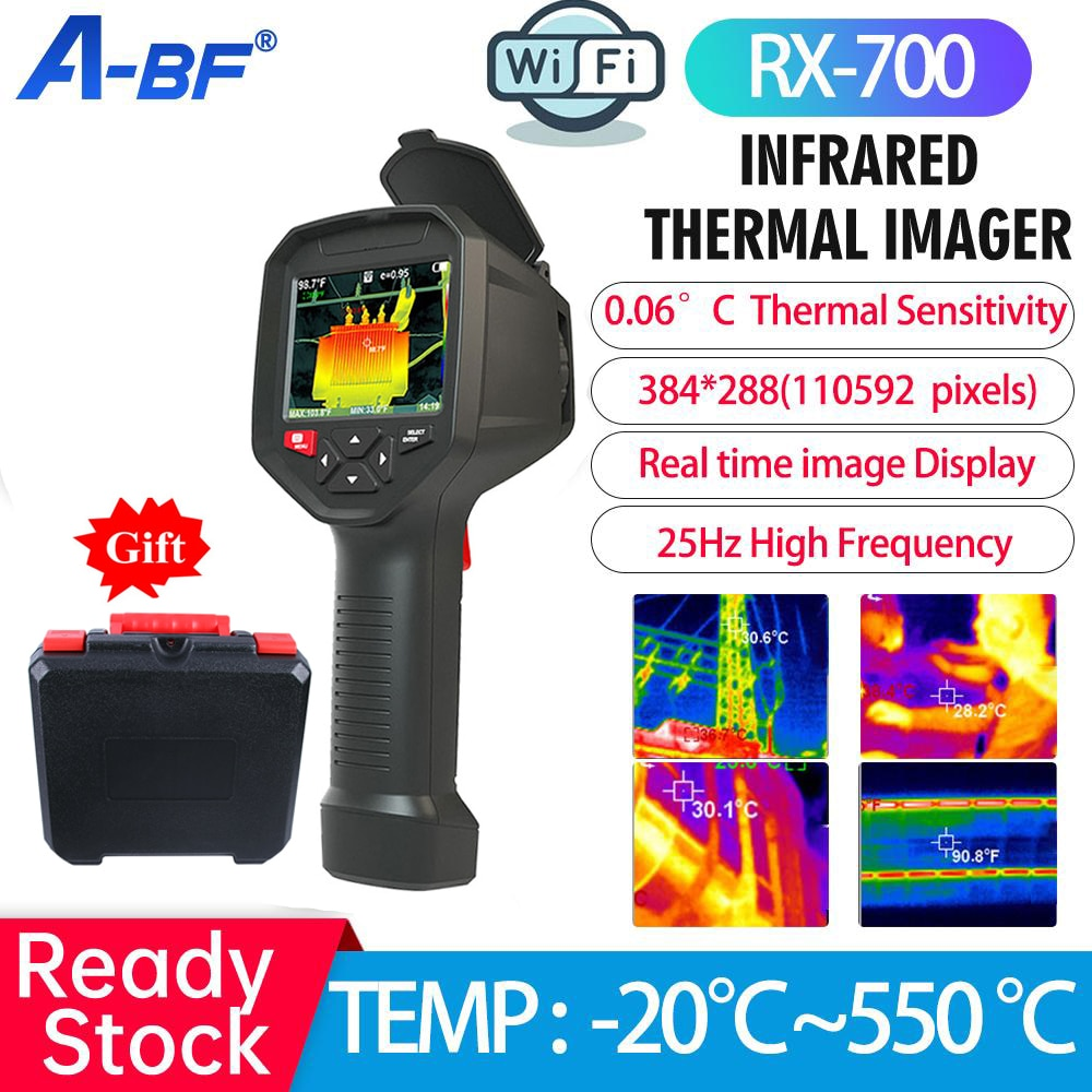 A-BF الأشعة تحت الحمراء الحرارية التصوير RX-700 الدوائر الصناعية PCB التدفئة كشف الأنابيب 384*288 بكسل واي فاي كاميرا تعمل بالأشعة الحرارية تحت الحمر...