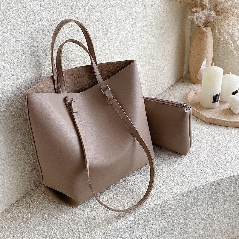 Bolsa feminina de couro de alta qualidade, 2 peças, bolsa de ombro, moda feminina sacos grandes 2019