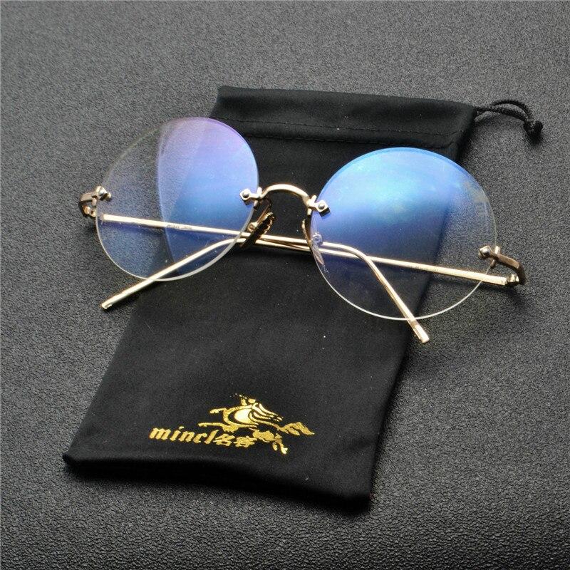 Gafas de sol redondas a la moda para mujer gafas de sol ovaladas sin montura Retro para mujer gafas de sol transparentes de diseñador de marca 2019 FML