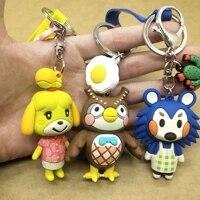 japan animal crossing silica gel keychain fashion car trinket key chian game cute animal crossing bag pendant keyrings ps4 gift