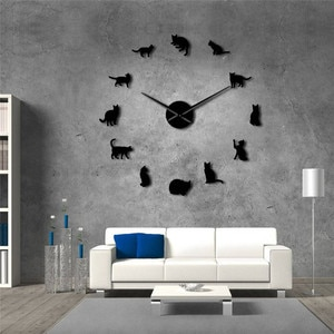 Cat 3D acrylic mirror wall clock European style living room large wall clock