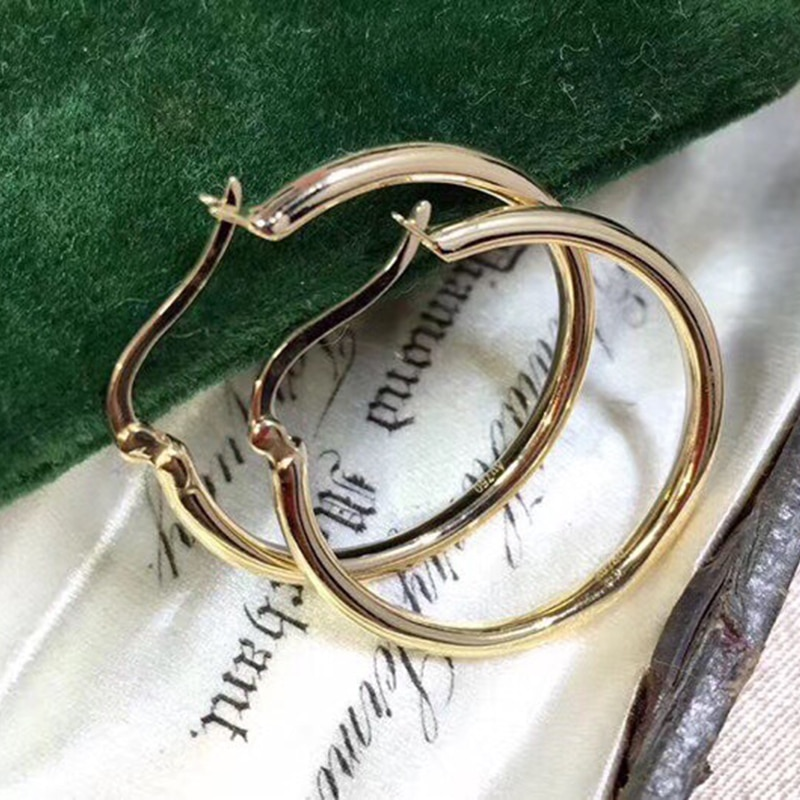 MADALENA SARARA Pure 18k Gold Earrings Round Circle Simple Style Women Dangle Earrings