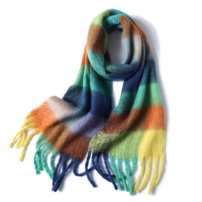 2020 New Women Plaid Scarf Winter Pashmina Shawls Cashmere Thick Wraps Lady Tassel Warm Scarves Rainbow Hairy Bufanda