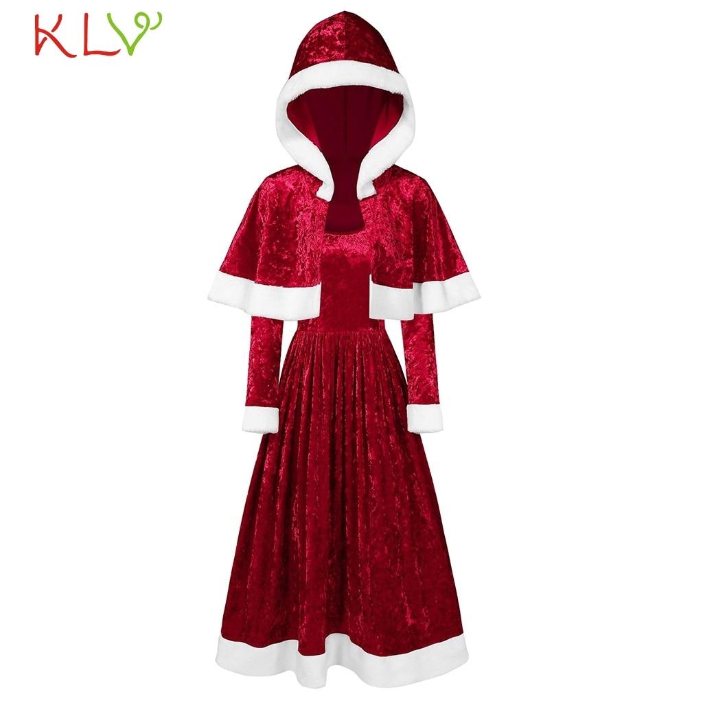 Vestido de Navidad vestido Vintage elegante de terciopelo con capa encapuchada vestido de fiesta de noche 2020 traje de Festival para mujer vestido de invierno 19Sp