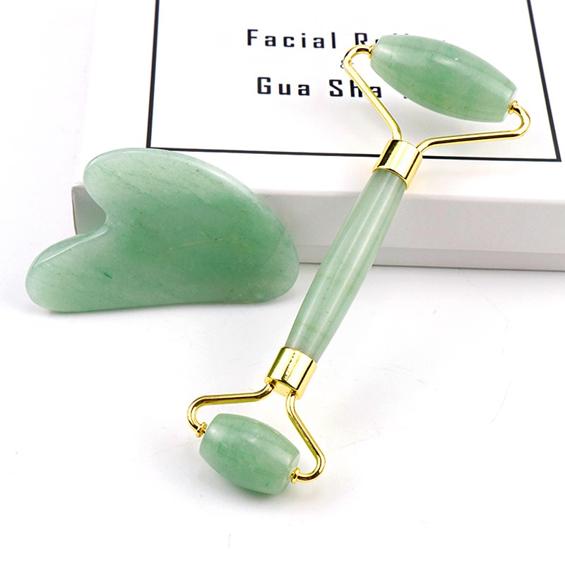 New Double Head Green Jade Roller Facial Massage Roller Natural jade Stone Face Massager Thin face Relaxation Slimming Tool box