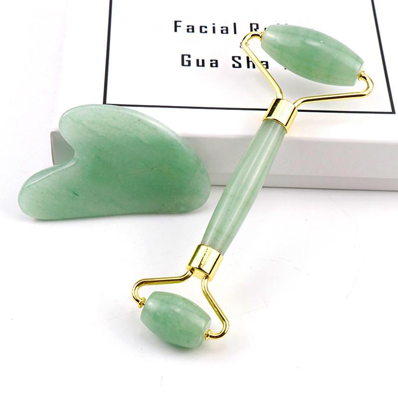 Nuevo doble cabeza Jade VERDE rodillo masajeador Facial Natural jade piedra masajeador cara delgada relajación herramienta para adelgazar caja