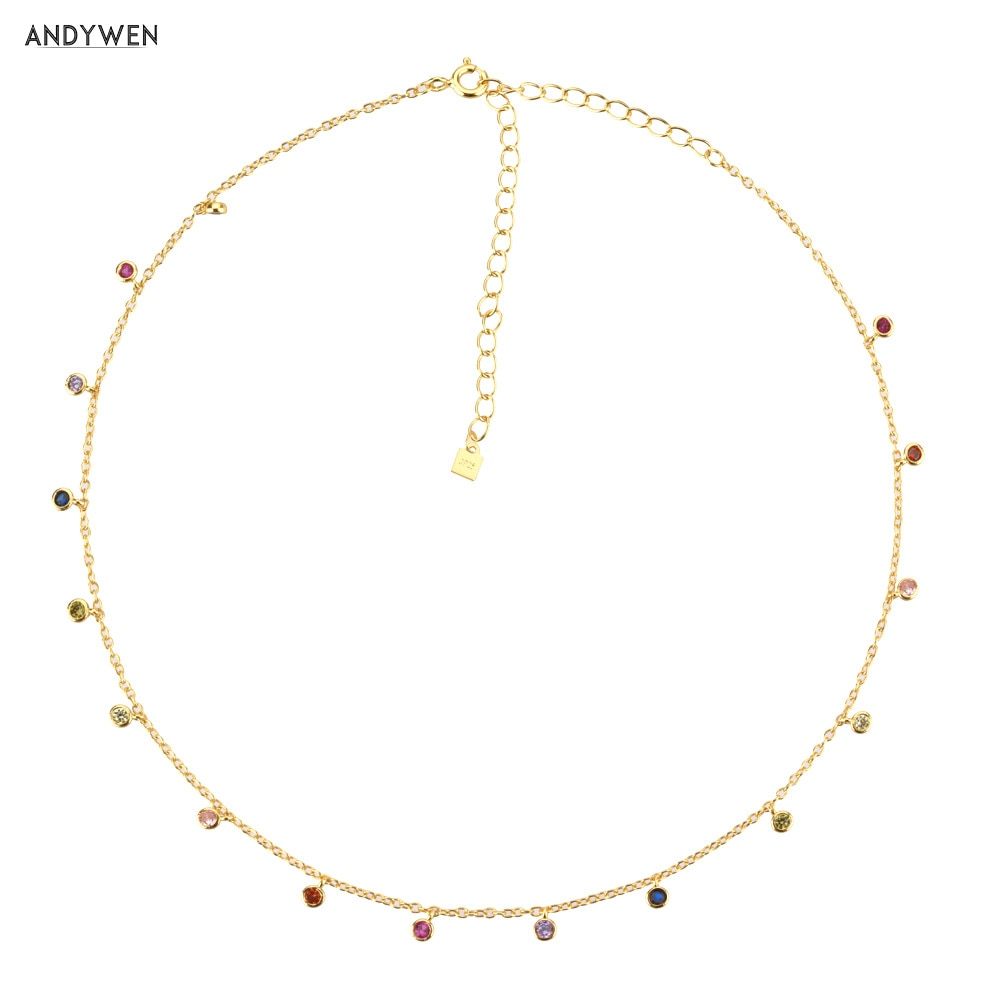 AliExpress - ANDYWEN 925 Sterling Silver Gold Rainbow Zircon Charm Choker Chain Necklace Rock Punk Party New Beads Pendant 2021 Fine Jewelry