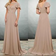 Elegant Plus Size Mother of the Bride Dresses Short Sleeves Appliques Chiffon Evening Gowns Floor Le
