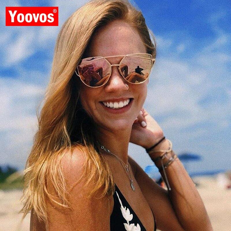 Yoovos cat eye óculos de sol feminino 2021 metal clássico vintage luxo cateye óculos para mulher espelho quente retro alta qualidade eyewear