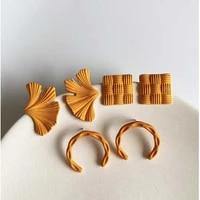 ghidbk korean geometric earrings for women girls personality orange yellow knit textured earrings vintage statement jewelry