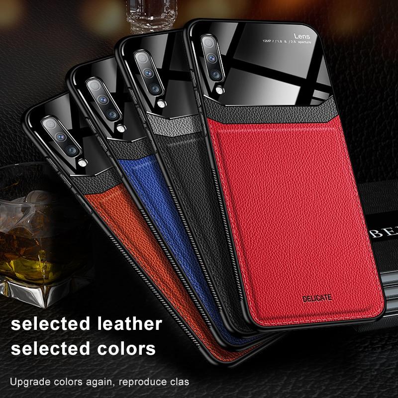 Para Samsung Galaxy Note8 Note 9 Note 10 Pro A50 A70 A7 2018 fundas de teléfono de cuero granulado cómodas Fundas protectoras de teléfono