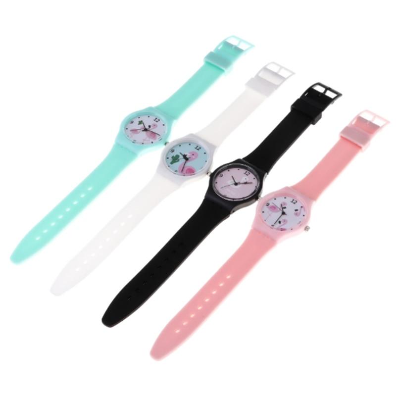 Silicone Candy Color  Flamingo Student Watch Girls Clock Fashion Children Wristwatch Cartoon Quartz