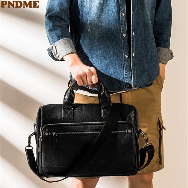 PNDME casual high quality natural genuine leather men's black briefcase lawyer work laptop handbag business women messenger bag