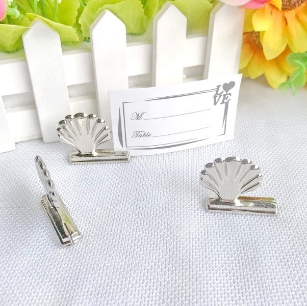 Free shipping 50pcs/lot Wedding accessory Silver Plated Shell Place Card Holder bachelor party Supplies