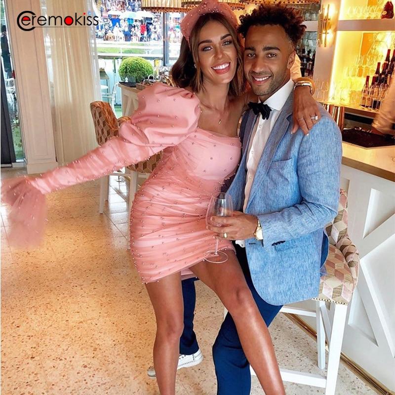 Vestido de perlas Ceremokiss, vestido de fiesta fruncido con mangas abullonadas de malla para mujer, vestido ceñido con cuello Barco, minivestido de Noche, Vestidos rosa
