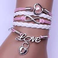 retro fashion jewelry peach heart lock infinite pink woven bracelet for men and women hot gifts