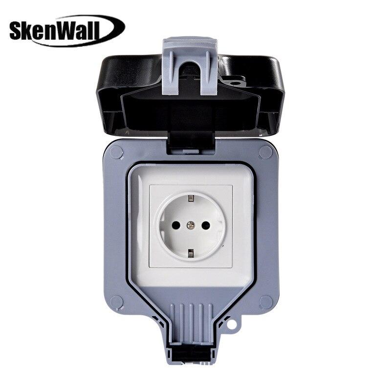 IP66 مانعة لتسرب الماء في الهواء الطلق الجدار مقبس الطاقة 16A الاتحاد الأوروبي القياسية الكهربائية المخرج على الأرض التيار المتناوب 110 ~ 250 فولت