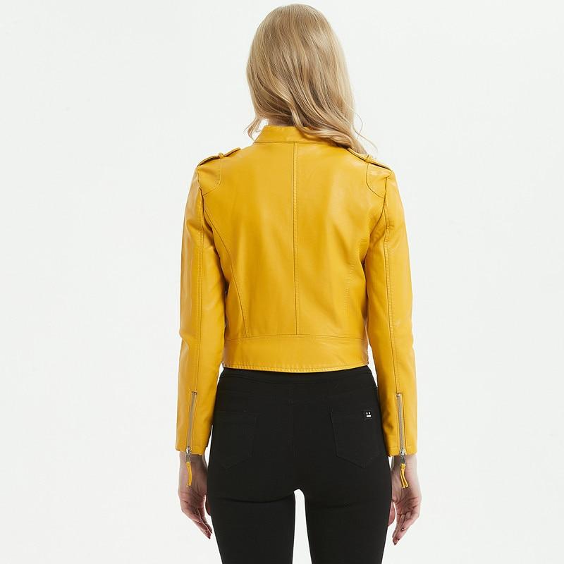 2019 new pu Biker Leather Female short slim slimming lapel washed Leather Jacket wild small Coat yellow Leder Jacket Women enlarge