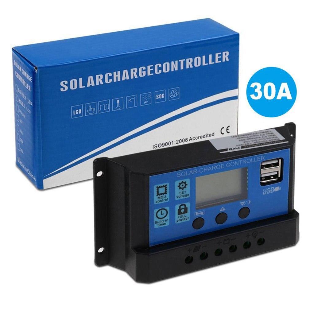 30a pwm painel solar regulador 12v 24v controlador de carga automatico duplo usb