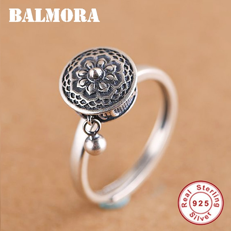 Женские вращающиеся кольца BALMORA из 100% настоящего серебра, тибетско-буддистские кольца на колесиках для молитв, кольцо на палец OM Mantra