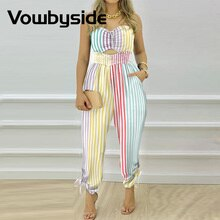 Colorful Striped Shirred Cutout Bandeau Jumpsuit