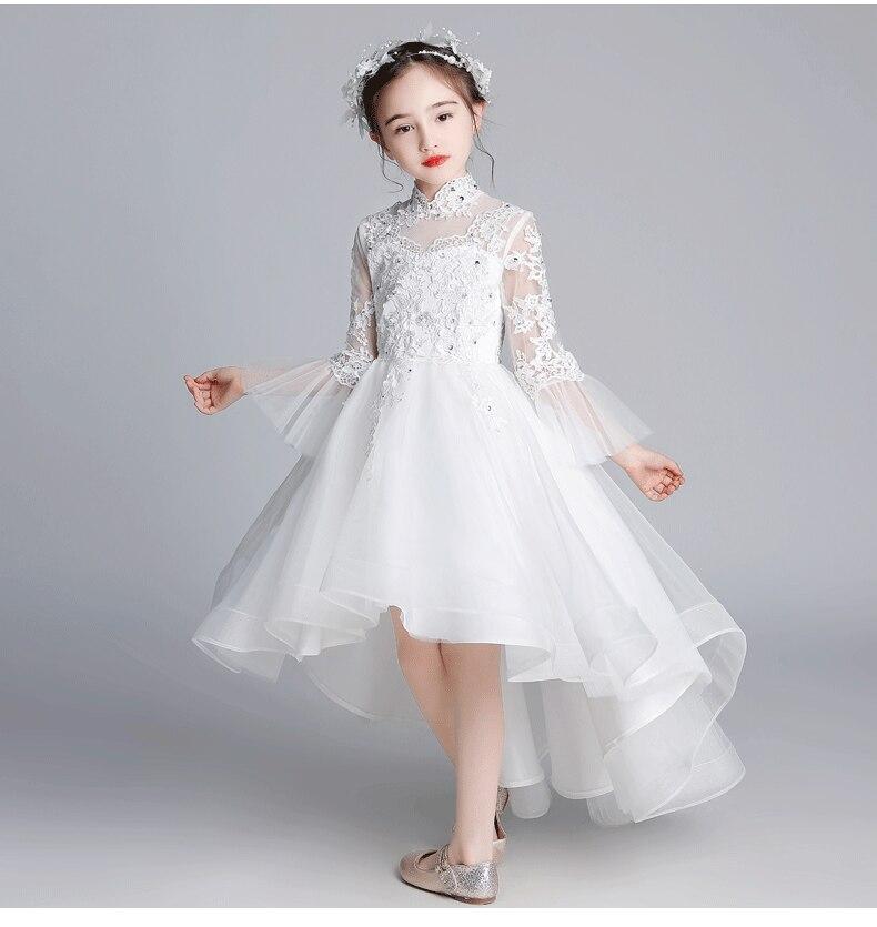 Elegante frisado apliques laço branco crianças vestido de princesa para festa de aniversário vestido de baile de casamento flor menina primeiro comunhão vestido