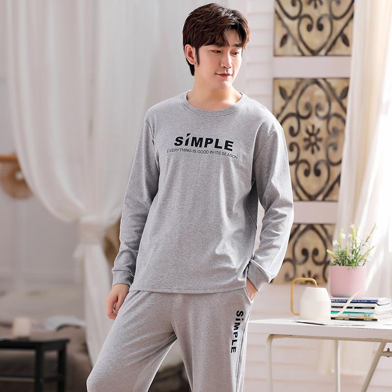 Spring Autumn Men's Cotton Pajamas Set Letter Simple Sleepwear Gray Pajama Casual Sleep&Lounge Pyjam