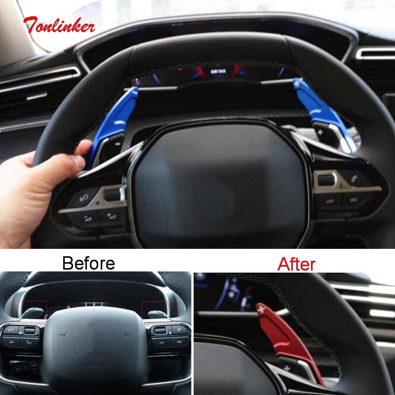 Etiqueta engomada de la cubierta de la paleta del cambio del volante Interior de Tonlinker para Citroen C5 Aircross 2018-20 Car Styling 2 uds etiqueta adhesiva de aluminio