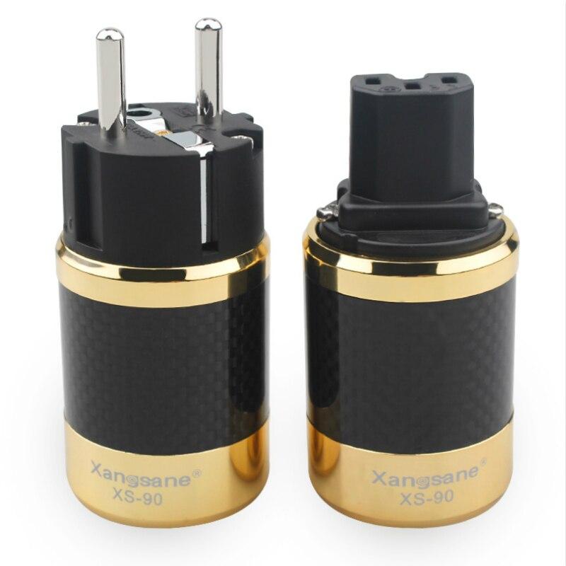 Fibra de Carbono Tomada de Alimentação Versão da ue Alta Fidelidade Áudio Cobre Vermelho Ouro Ródio Chapeado Iec Conector Adaptador Cabo Amplificador
